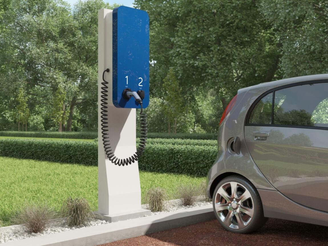 Dwustanowiskowa stacja szybkiego ładowania pojazdów elektrycznych typu wallbox AID-2P-W022OD